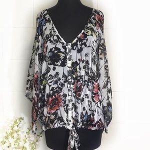 Torrid Floral Kimono Sleeve Sheer Blouse